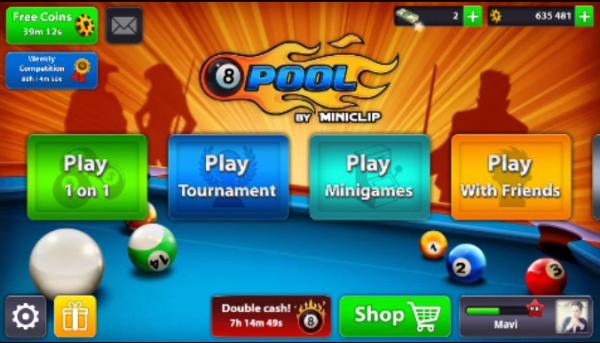 الواجهة الرئيسية في لعبة 8 ball pool