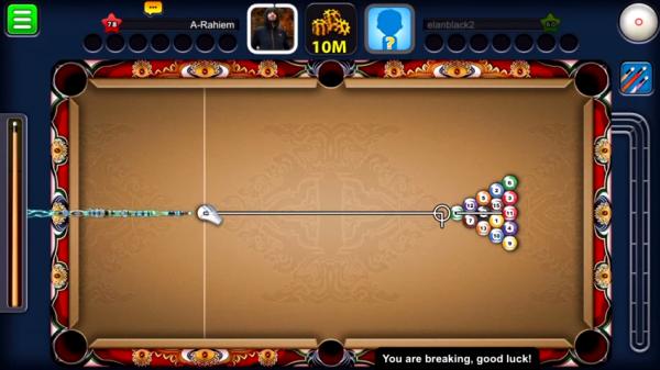 طاولة اللعب في لعبة بلياردو للموبايل الاندرويد اخر اصدار، لعبة 8 ball pool محدثه